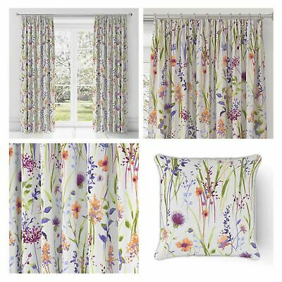 "Heather Tape Top Curtains Floral Luxury Ready Made 3"" Pencil Pleat Curtain Pairs"