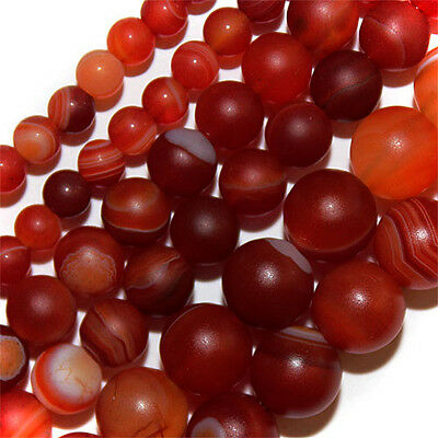 Red Matte Satin  Frosted Line Agate Beads 6Mm Round Strand Stone Bead S102