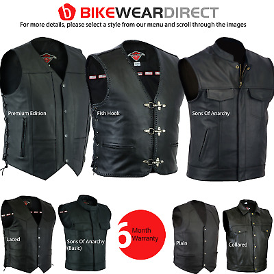Leather Waistcoat Mens Motorbike Motorcycle Biker Gillet Vest Cut [Top Quality]