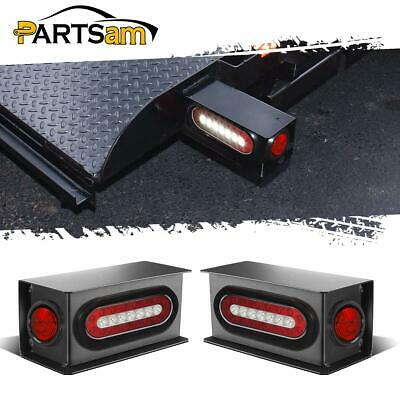 """6"""" Oval Red/White LED Stop Turn Tail Steel 2"""" Red LED Side Light Box Kit Trailer"""