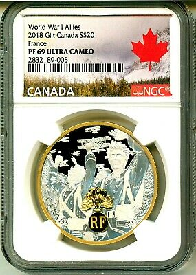 2018 Canada S$20 Gilt World War I Allies France NGC PF69 Ultra Cameo COA OGP