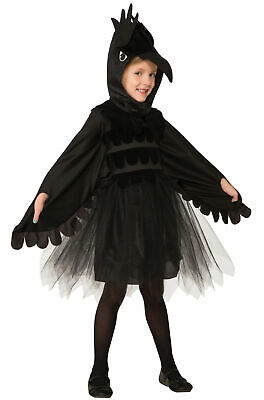 Raven Bird Child Halloween Costume Dress Kids Black Crow Animal Tulle SM-LG
