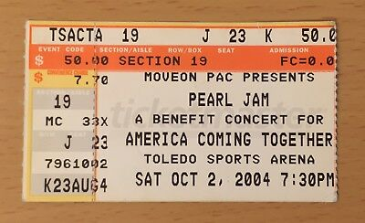 2004 Pearl Jam Neil Young Toledo Ohio Concert Ticket Stub Eddie Vedder Dieci Vs