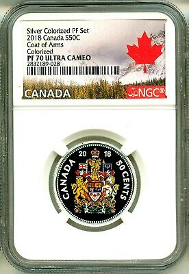 2018 Canada S50c Silvered Colororized Proof Coat Of Arms NGC PF70 Ultra Cameo