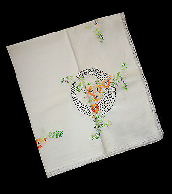 """Vintage Tablecloth, Small, White with Embroidered Floral Designs, 31.5"""" x 35"""""""