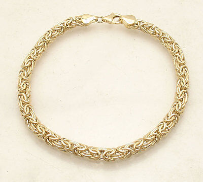 All Shiny Domed Byzantine Bracelet with Lobster Clasp Real 14K Yellow Gold  QVC
