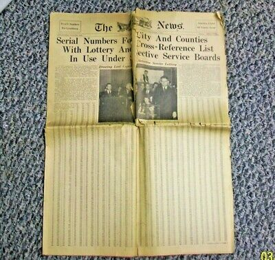 "#CS-LY LYNCHBURG VA NOVEMBER 4 1940 ""THE NEWS"" NEWSPAPER with WWII DRAFT NUMBERS"