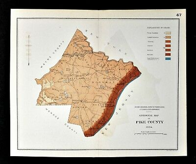 1884 Geological Map - Pike County Pennsylvania - by Lesley Geology Survey PA