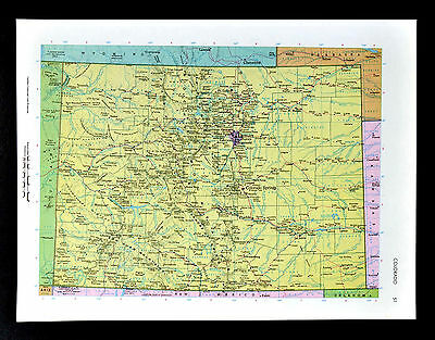 c1970 McNally Cosmo Map - Colorado - Denver Bolder Pueblo La Junta CO Springs