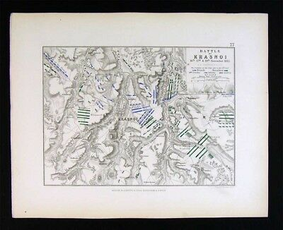 1855 Johnston Military Map - Napoleon Battle of Krasnoi 1812 - Krazny Russia