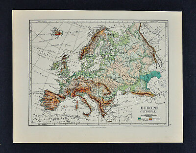 1895 Johnston Map - Physical Europe & Political England & Wales London Liverpool