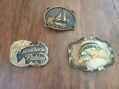 Lot 3 Vintage belt buckles: Brass Sail boat /Nautical, Fishing,Wide Mouth Bass