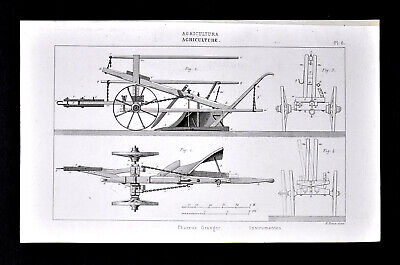 1859 Antique Print Agriculture Farm Implement Horse Drawn Granger Plow by Didot