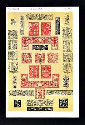 1868 Owen Jones Ornament Print Italian No 5 Typography Manuscripts Italy France