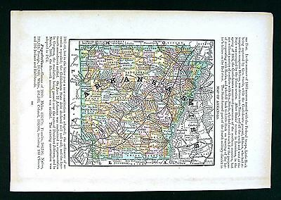 1884 Rand McNally Map - Arkansas - Little Rock Hot Springs Fayetteville Rogers