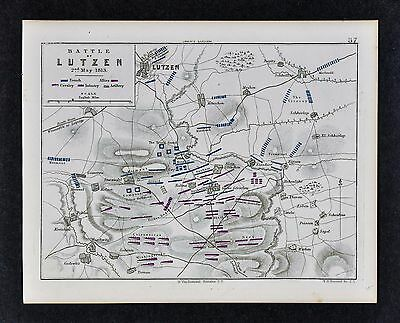 1864 Jomini Napoleon Military Map Battle Lutzen - War of Sixth Coalition Germany