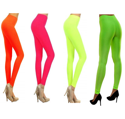 Womens Ladies Neon Leggings 80's Fancy Dress Yellow Slim Fit Stretch Plain UK