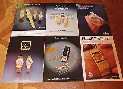 Lot of 6 VINTAGE 1981 watch magazine print ads Tiffany Cartier Corum
