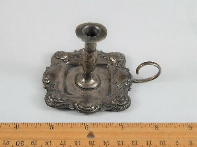 Antique Sterling Silver Chamber Candlestick Of Small Size Delicate Proportion