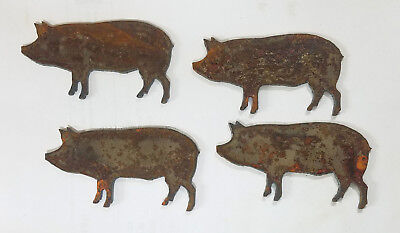 "Lot of 4 Pig Farm Animal Shape 3"" Rusty Metal Vintage Ornament Craft DIY Sign"