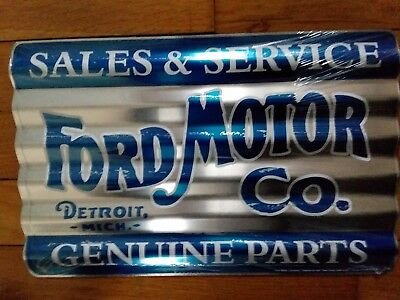 Ford Sign Sales Service Parts Corrugated Metal Vintage Advertising Tin New USA