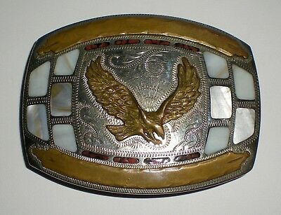 Vintage Johnson & Held Hand-Crafted Flying Eagle Belt Buckle - Mop Inlay - 25/30