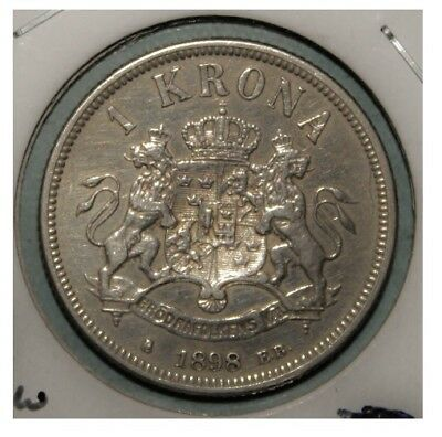 Sweden 1 Krona 1898 Extremely Fine + Silver Coin Scarce Like This
