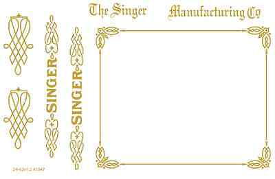 Singer Model 24-62 Sewing Machine Restoration Waterslide Decals