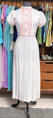 1960's White with Apricot Polka Dots Maxi Dress
