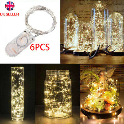 6 Pack 20 LED Battery Micro Rice Wire Copper Fairy String Lights Party 2M UK