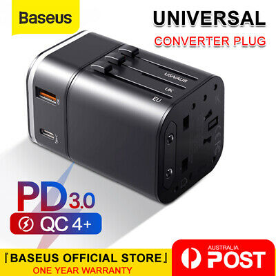 Baseus 18W USB + Type C Universal Travel Adapter Power Plug Charger Converter