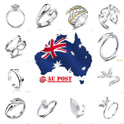 Wholesale Silver Plated Women Fashion Crystal Rings Adjustable 925 Open Size