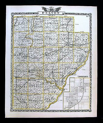 1876 Illinois County Map - Fulton & McDonough Astoria Lewistown Macomb Townships