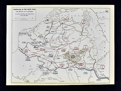 West Point WWII Map - Battle of Flanders British Line Frankforce May 16-21 1940