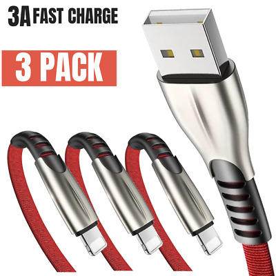 3 Pack USB 6Ft Lightning Cord Heavy Duty Fast Charging Cable For iPhone X 8 7 6