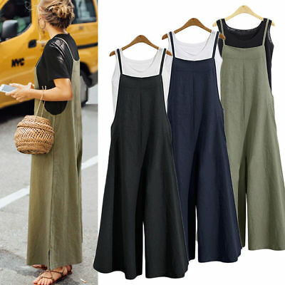Women Loose Overalls Jumpsuit Playsuit Bib Dungarees Wide Leg Pants Plus Size AU