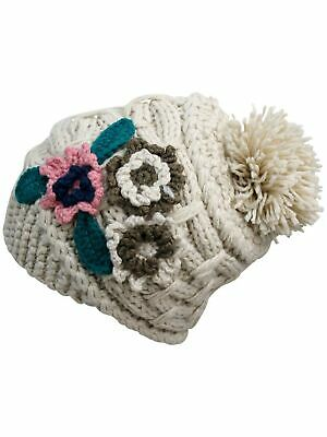 Chunky Knit Floral Slouchy Beanie Cap Hat