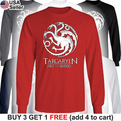 Game of Thrones Long T-Shirt House Targaryen GoT Fire and Blood Dragon Mother