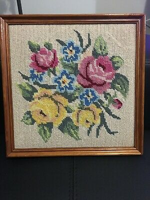 Antique vintage wool tapestry framed floral Roses