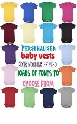 Personalised Coloured Baby Vest Babygrow Bodysuit Printed On Front, Back Or Both