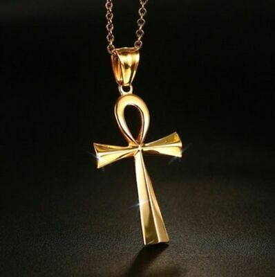 Large Gold Plated Egyptian Ankh Key Of Life Cross Pendant Amulet Chain Necklace