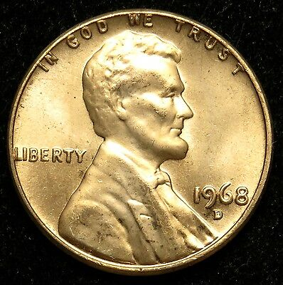 1968 D Uncirculated Lincoln Memorial Cent Penny BU (B05)