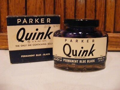 VINTAGE-- PARKER QUINK FOUNTAIN PEN GLASS BOTTLE INK w/INK & BOX