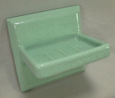 "Willette Tile Speckled Mint Sea Green 5"" Porcelain Ceramic Soap Dish Wall Mount"