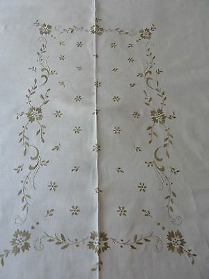 "Vintage Linen Tablecloth 68x54"" w/ 6 Napkins 16"" sq  Taupe Embroidery"