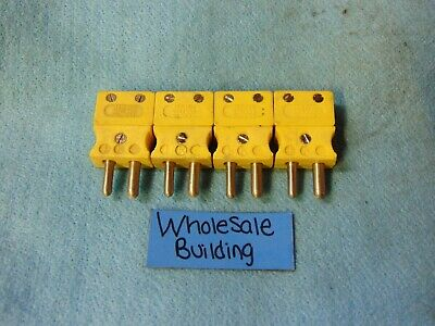 Tempco, Thermocouple Plug, Type K, Yellow, Tcar-1007, Hollow Pin, Lot Of 4