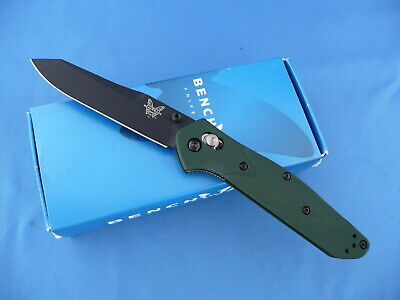 Benchmade 940BK Osborne Axis Lock Knife Green Handle Black S30V Plain Edge
