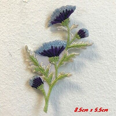 Beautiful Lavender Thistle Flower Embroidered Iron on Sew on Patch #1711