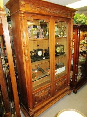 *Sale* 19Th Century French Walnut Carved & Column Double Door Bookcase
