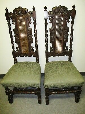 *sale* Pr Jacobean Revival Tudor Hall Walnut Hall Chairs C.1920's Cane Backs